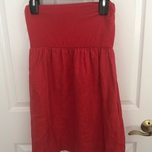 Red strapless dress with linen bottom